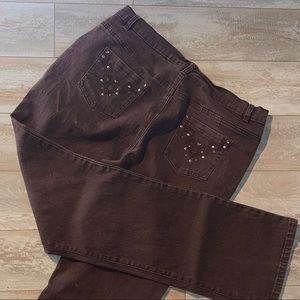 Sz 12 Brown Stretch Diane Gilman Embellished Jeans